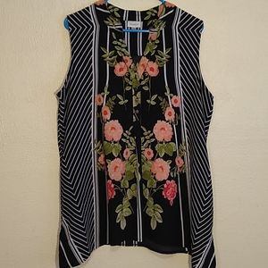 Avenue floral print sleeveless blouse